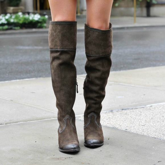 3f27164ff1a Frye Shoes - Frye Clara over the knee suede grey boots 8.5
